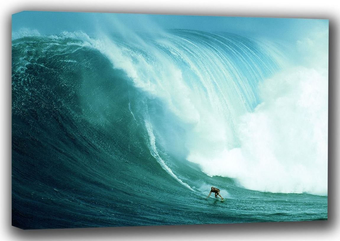 Extreme Surfing, Enormous Wave. Surf Canvas. Sizes: A4/A3/A2/A1 (001313)